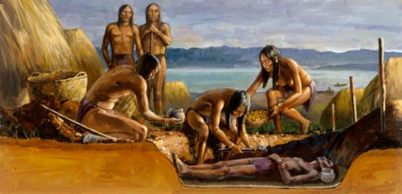 Artwork. An oil painting entitled Indian Burial Scene.