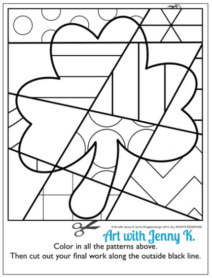 "FREE pattern-filled shamrock coloring sheet. Try out this sample ""pop art"" coloring sheet with your students for St. Patrick's Day. See how much they enjoy this kids craft art activity. A fun and easy art lesson for March from Art with Jenny K.:"