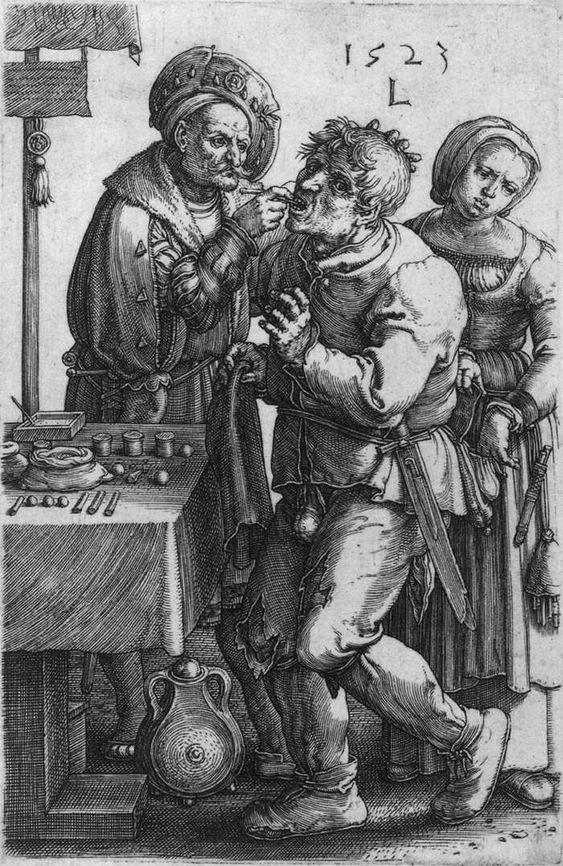 LEYDEN, Lucas van (b. 1494, Leiden, d. 1533, Leiden) The Dentist 1523 Engraving, 149 x 96 mm Rijksmuseum, Amsterdam