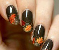Glittery Autumn Leaves Nail Art