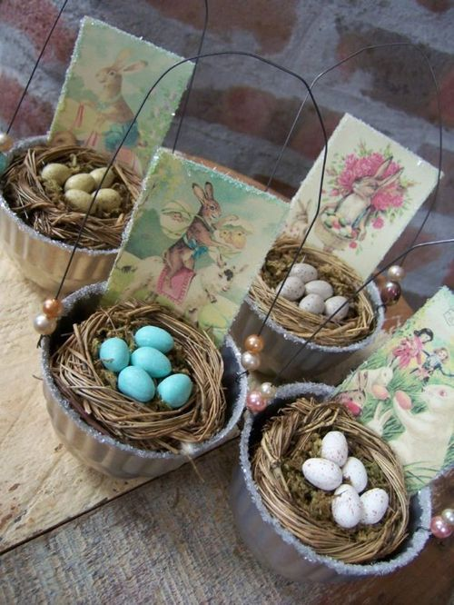 Easter or May baskets made from small vintage molds, hobby store nests, vintage card copies, wire & beads. Instead of faux plastic or wooden eggs, use sky-blue candied almonds for eggs (wedding candy - look at Walmart).:
