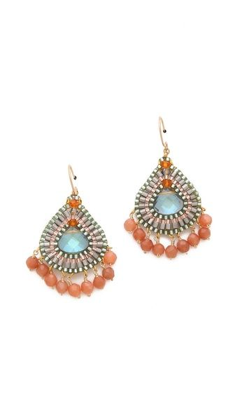 Miguel Ases Beaded Teardrop Earrings: