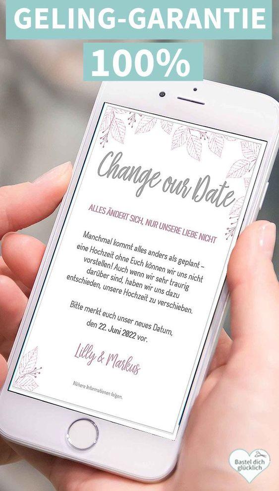 Change The Date Vorlage Inkl Schrift Und Anleitung In 2020 Diy Hochzeit Planen Basteln Und Selbermachen Hochzeit Planen