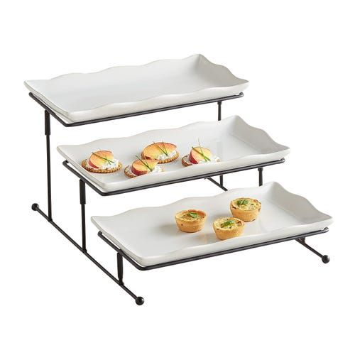 3 Tiered Rectangle Server In 2020 With Images Platters Kitchen Accessories Home Bar Areas