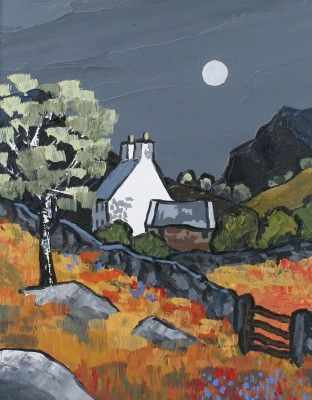 British Artist David Barnes Snowdonian Cottage Painting