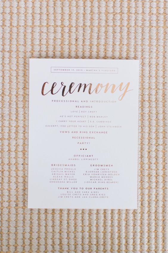 elegant modern gold foil wedding ceremony program with calligraphy script font | colourful DIY Martha's Vineyard wedding
