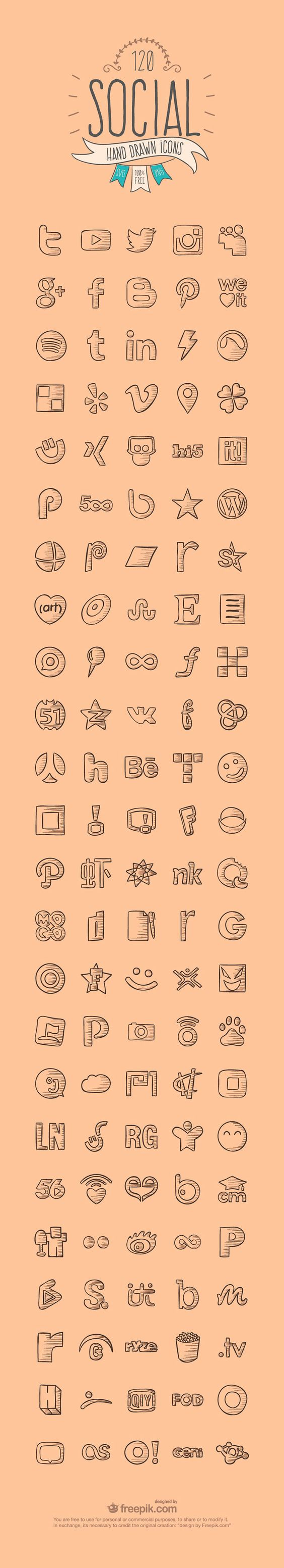 120 Hand Drawn Social Media Icons repinned by bluejdesign.co.uk