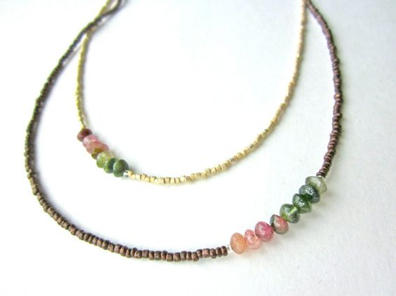 TOURMALINE AND WOOD SWEET AND DAINTY NECKLACE. $36.00