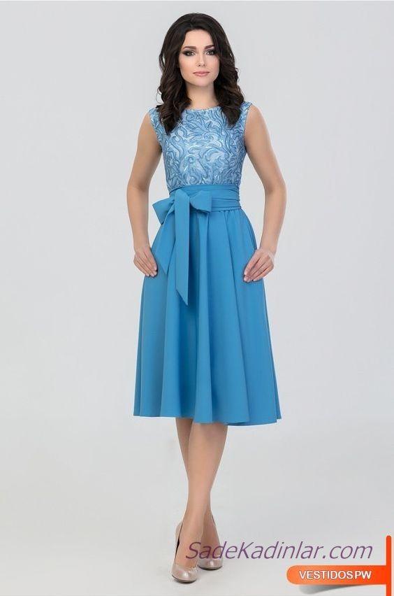 Klos Elbise Modelleri Mavi Dizalti Kolsuz Kayik Yaka Desenli Elbise Modelleri The Dress Elbise