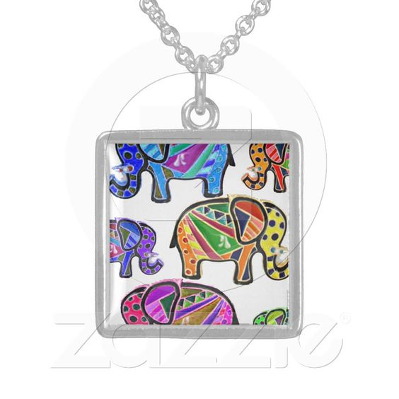 Cute whimsical tribal patterns colorful elephants sterling silver necklaces from Zazzle.com