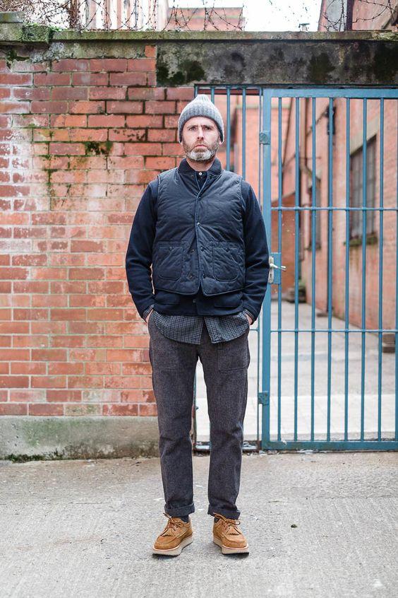 dark navy weather poplin primaloft fridge vest by engineered garments the bureau belfast. Black Bedroom Furniture Sets. Home Design Ideas