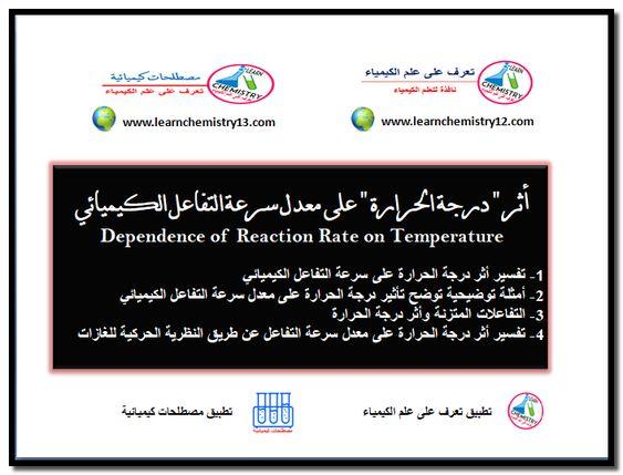 أثر درجة الحرارة على معدل سرعة التفاعل الكيميائي Reaction Rate Chemistry Reactions