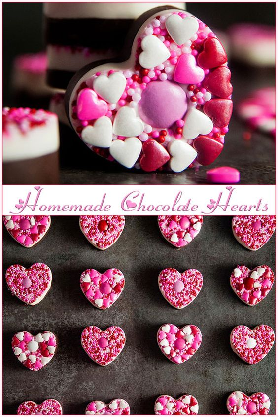 Homemade chocolate hearts