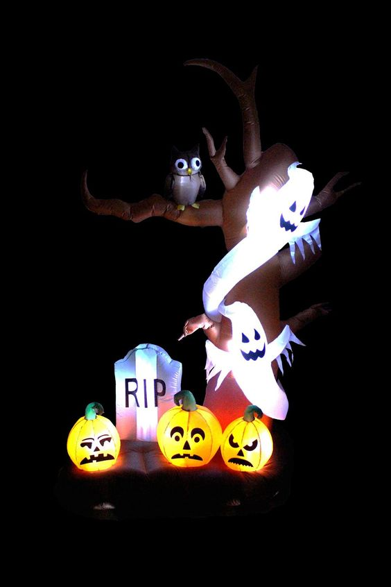 9 Foot Tall Halloween Inflatable Tree with Ghosts, Pumpkins, Owl and Tombstone…