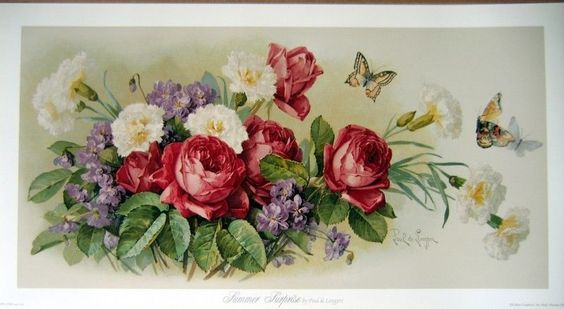 art print~SUMMER SURPRISE~deLongpre butterfly roses Victorian vtg floral re24x13 #Vintage