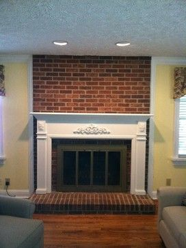 Brick fire place white mantle painting brick fireplace for Brick fireplace white mantle
