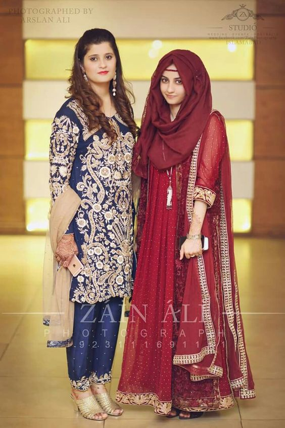 Maroon colored hijab with long embroidered frock