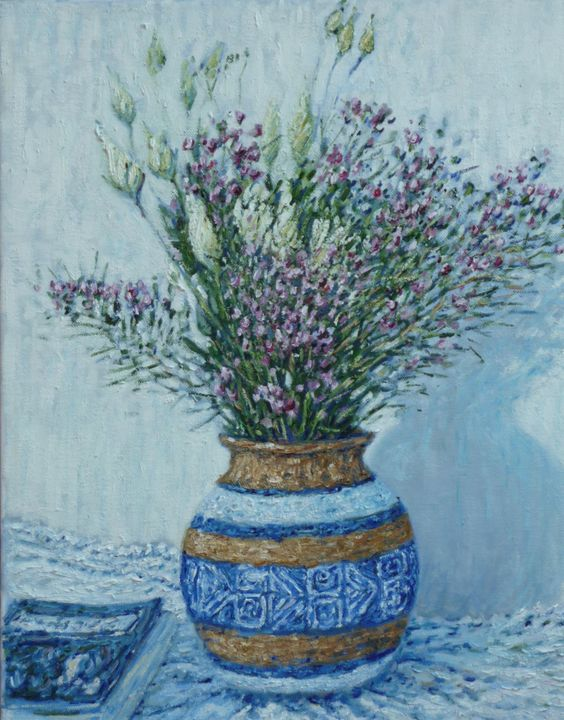 Vase with flowers by BritishImpressionist on Etsy