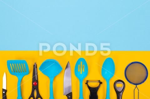 Design Concept Of Kitchen Utensils Isolated With Copyspace On Blue Yellow Stock Photos Ad Utensils Isolated Kitche Concept Design Stock Photos Design Design