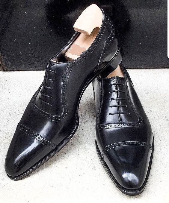 Handmade Mens Oxford lace up formal shoes, Men black leather