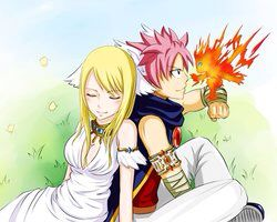 Natsu with his angel (Lucy) and his devil.