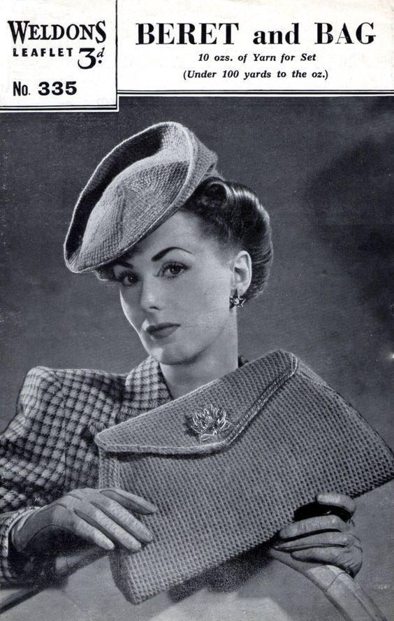 Vintage Knitting Pattern Beret : 1940s Tilt Hat Beret and Bag Purse Weldons 335 Vintage Knitting Pattern Pdf D...