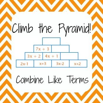 math worksheet : common core 6ee3  simplify expressions combine like terms  : Addition Pyramid Worksheets