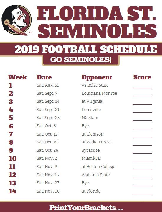 Printable 2019 Florida State Seminoles Football Schedule Florida