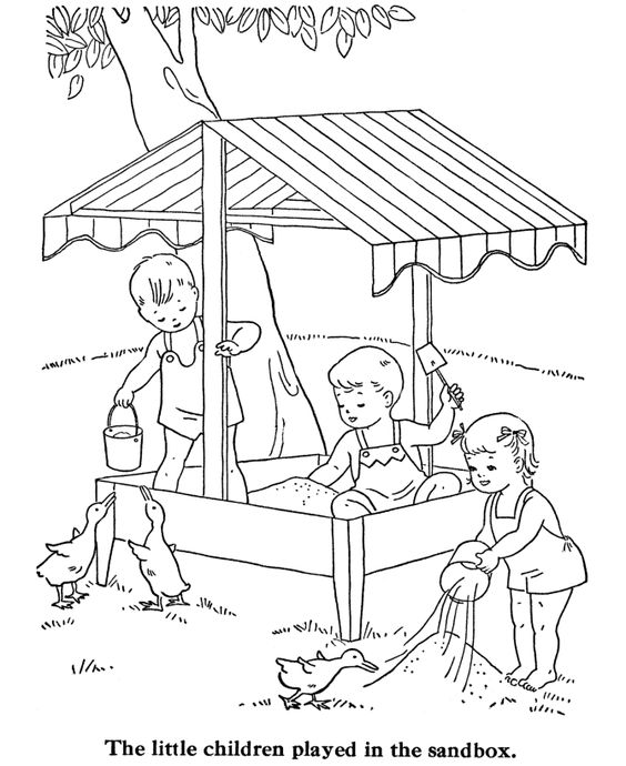 Sandbox, Coloring pages and Kids coloring pages on Pinterest