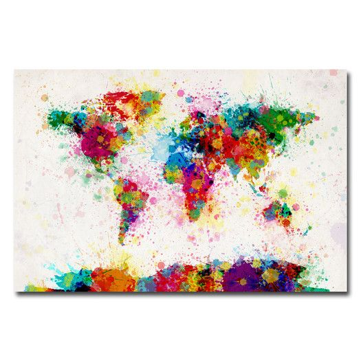 Trademark Art World Map Splashes Painting on Wrapped Canvas | AllModern