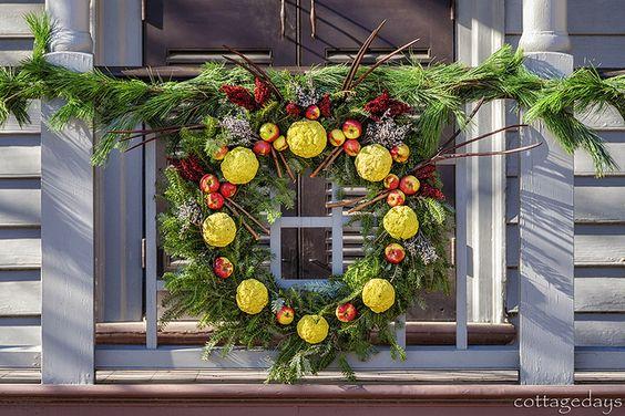 osage orange, apple, and pine wreath by Cottage Days, via Flickr