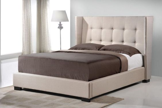King Bed Frame Platform Linen Tufted Headboard Beige Neoclassic New Ships Free #rt #Transitional