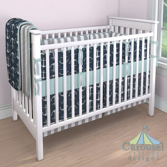 Crib bedding in White and Gray Stripe, Navy Anchors, Solid Seafoam Aqua. Created using the Nursery Designer® by Carousel Designs where you mix and match from hundreds of fabrics to create your own unique baby bedding. #carouseldesigns