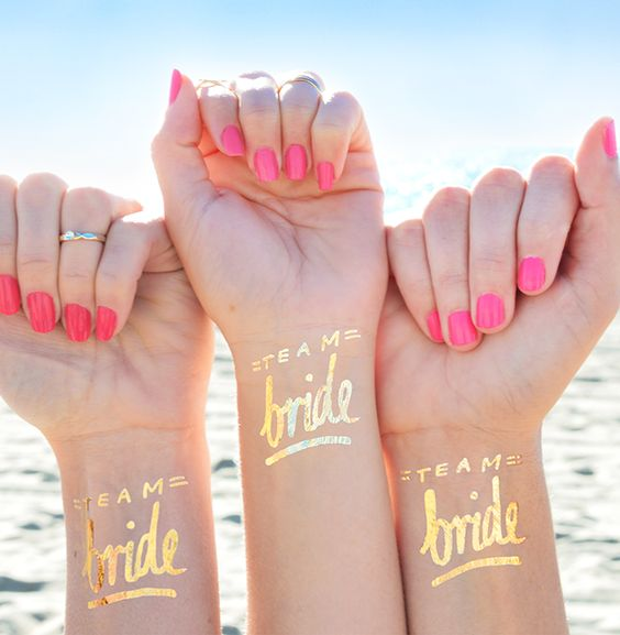 'Team Bride' Set of 12 Bachelorette Flash Tattoos. Classy bachelorette ideas! By Daydream Prints