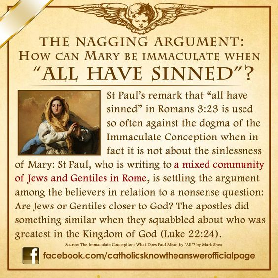 "An answer to a nagging argument in relation to Our Lady's Immaculate Conception: What does St Paul mean when he said ""ALL have sinned""?  https://www.facebook.com/catholicsknowtheanswerofficialpage/photos/pb.469741369712413.-2207520000.1421017437./902082859811593/?type=3&theater"