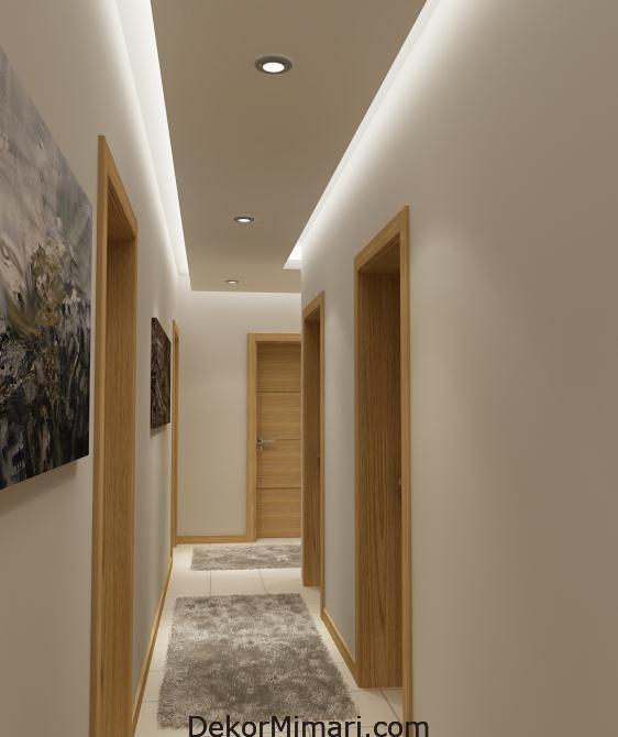 Asma Tavan Modelleri Koridor Dekorasyon House Evler Ev Kitapliklari