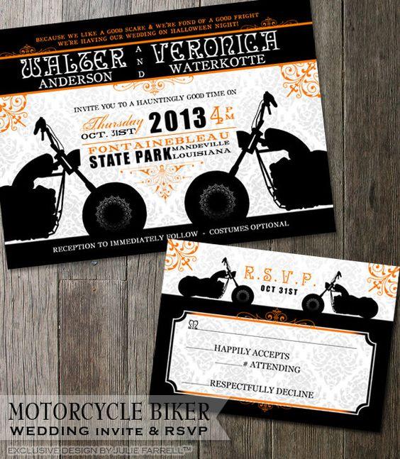 Biker Motorcycle Wedding Invitation DIY Printable Invite Biker Wedding Harley Davidson