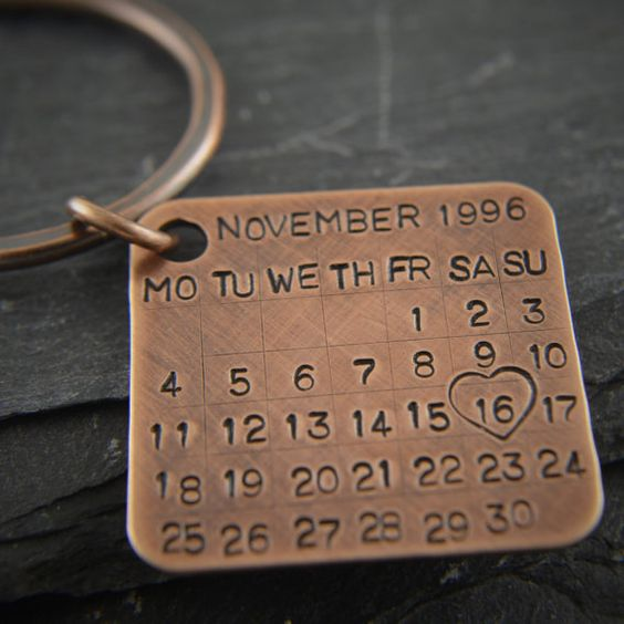 Bronze Key Chain Date Tag Calendar Charm Solid Bronze Gift 8th And 19th Wedding Anniversary