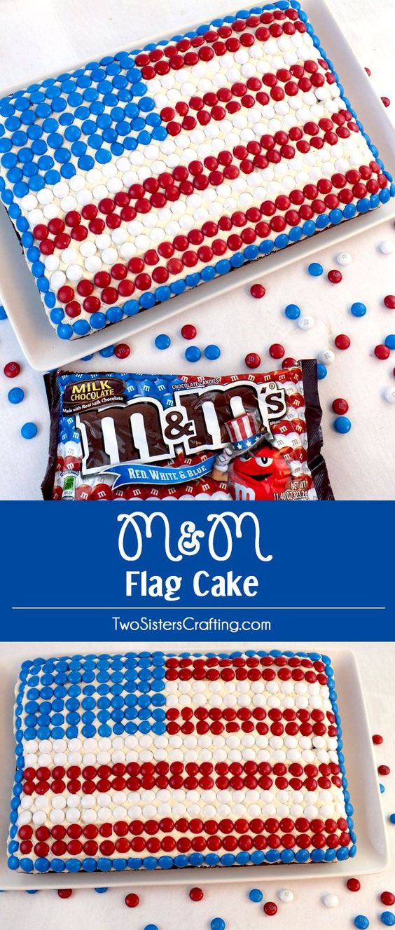 4th of july flag cake with cool whip