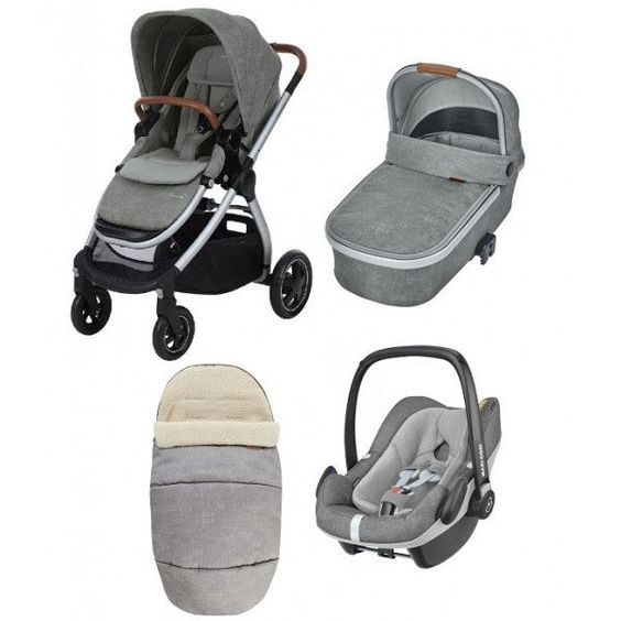 3 In 1 Kinderwagen Maxi Cosi Adorra Autostoel Pebble Plus Voetenzak Nomad Grey Maxi Cosi Stroller Baby Strollers Stroller