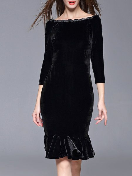 Shop Midi Dresses - Black Velvet Mermaid 3/4 Sleeve Midi Dress online. Discover unique designers fashion at StyleWe.com.: