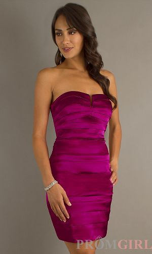 Short Strapless Fuchsia Dress - $101 : Here is your dress style., We can provide all kinds of wedding dress,high quality dress and high quality service! HL-201C26420