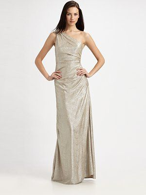 David Meister - Matelasse One-Shoulder Gown - Saks.com  $550