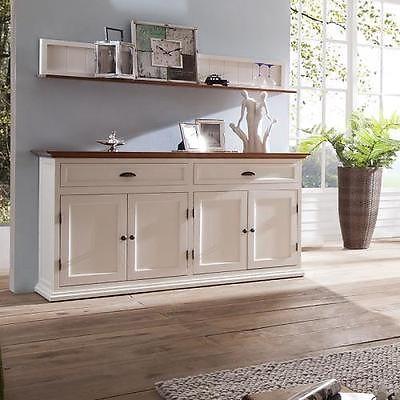 NEU 160cm Landhaus Sideboard Kommode massiv weiß - bernstein Anrichte Wohnzimmer