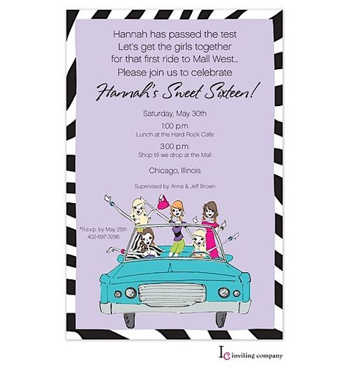 Cruisin' Chicks Invitation Limo Party For Sweet Sixteen