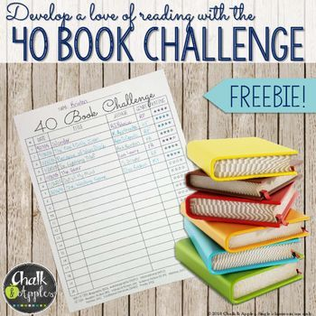 """FREE tracking sheet for the 40 Book Challenge! Encourage students to """"just read"""" 