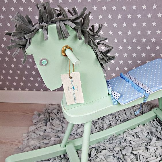Schaukelpferde - Schaukelpferd aus Holz, ein kleines Wunder – Blue - ein Designerstück von BlueFlamingoPl bei DaWanda