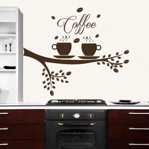 Carved Flower Vine Coffee wall sticker Cafe restaurant Decoration*Decal Kitchen