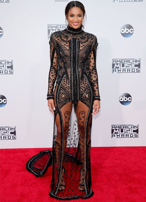 look ciara vestido preto transparencia red carpet american music awards