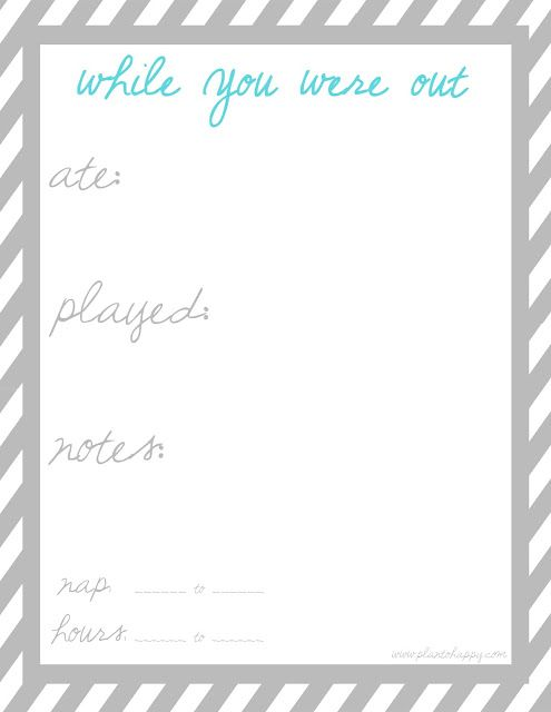 babysitter  u0026quot while you were out u0026quot  printable  free